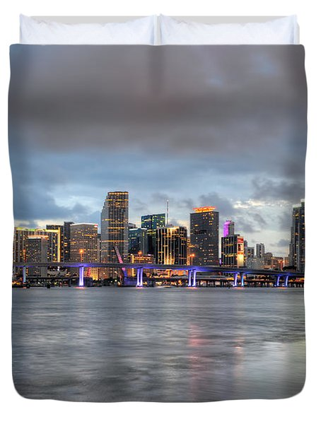 Miami Skyline At Dusk Duvet Cover