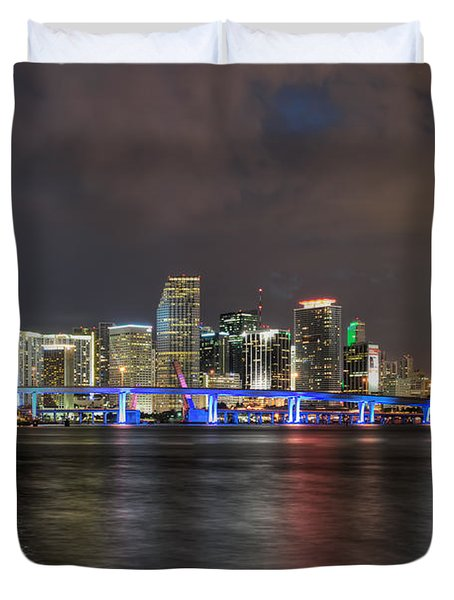 Miami Skyline At Night Duvet Cover