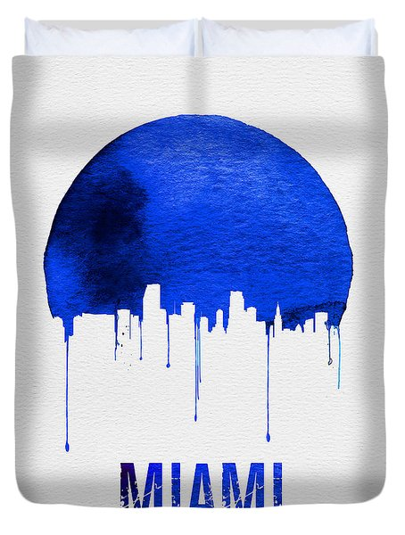 Miami Skyline Blue Duvet Cover by Naxart Studio