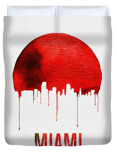 Miami Skyline Red Duvet Cover by Naxart Studio