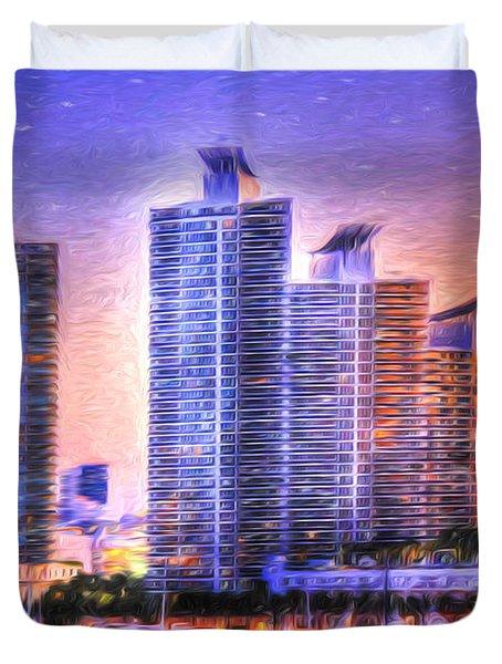 Miami Skyline Sunrise Duvet Cover