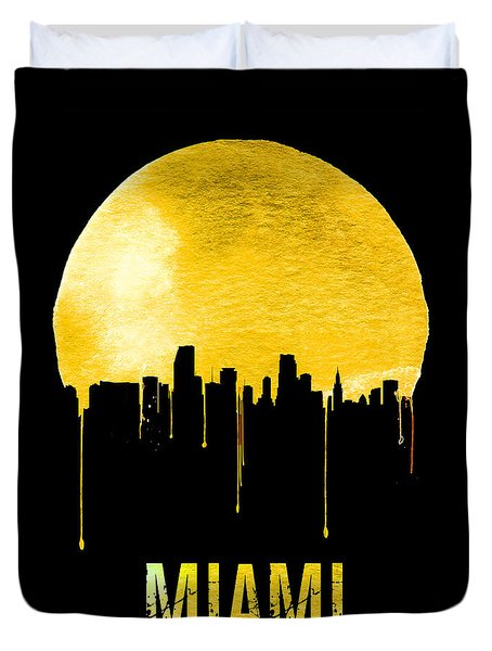 Miami Skyline Yellow Duvet Cover by Naxart Studio