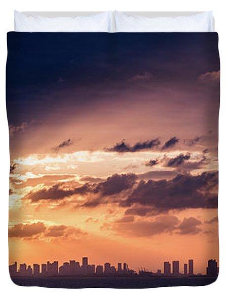 Miami Sunset Pano Duvet Cover