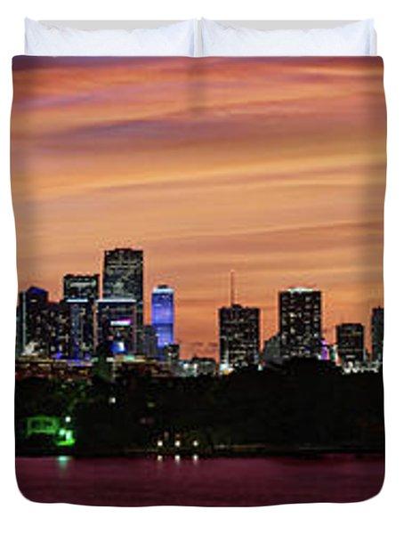 Miami Sunset Panorama Duvet Cover