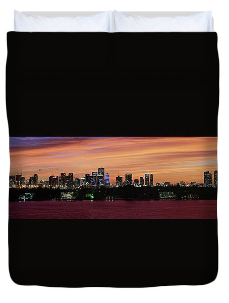 Miami Sunset Panorama Duvet Cover by Gary Dean Mercer Clark