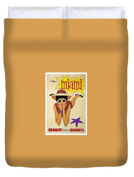 Miami Travel Poster Duvet Cover