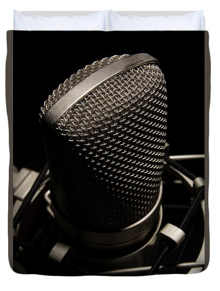 Duvet Cover featuring the photograph Mic by Brian Jones