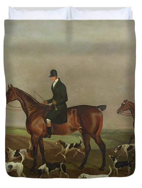 Michael Beverley With His Whipper In And Harriers Duvet Cover