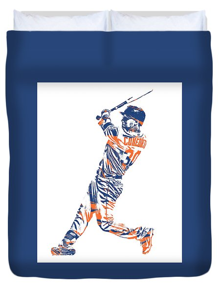 Michael Conforto New York Mets Pixel Art 1 Duvet Cover