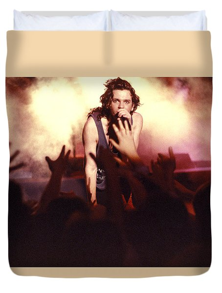 Michael Hutchence And Inxs 1985 Duvet Cover by Sean Davey