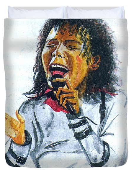 Duvet Cover featuring the painting Michael Jackson by Emmanuel Baliyanga