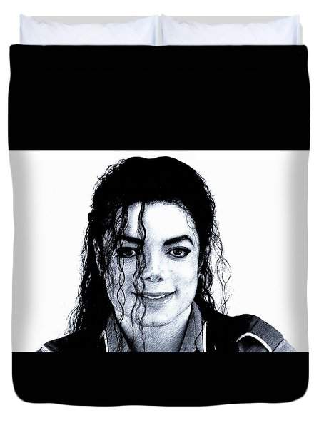 Duvet Cover featuring the drawing Michael Jackson Pencil Drawing  by Movie Poster Prints