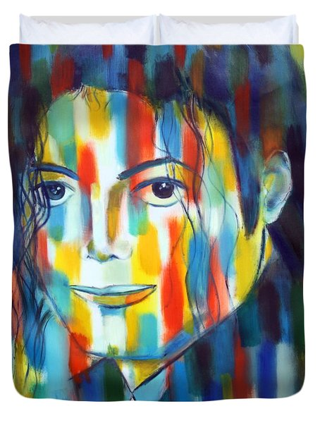 Michael Jackson  The Man In Color Duvet Cover by Habib Ayat