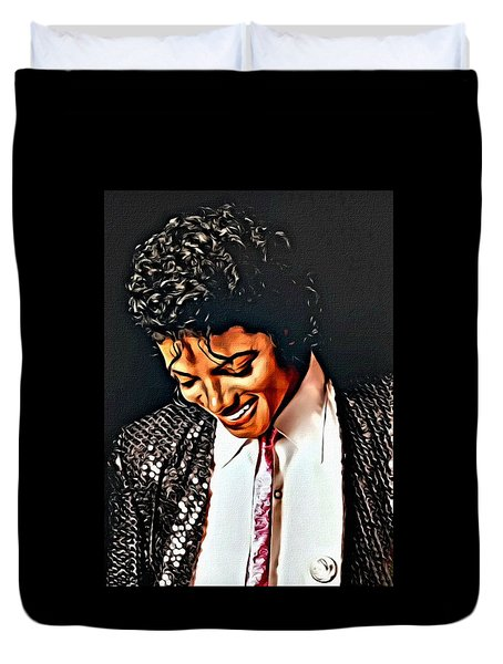 Duvet Cover featuring the painting Michael Jackson The Ultimate Humanitarian by Karen Showell