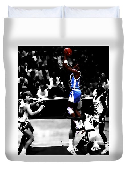 Duvet Cover featuring the digital art Unc Tarheel Michael Jordan  by Brian Reaves