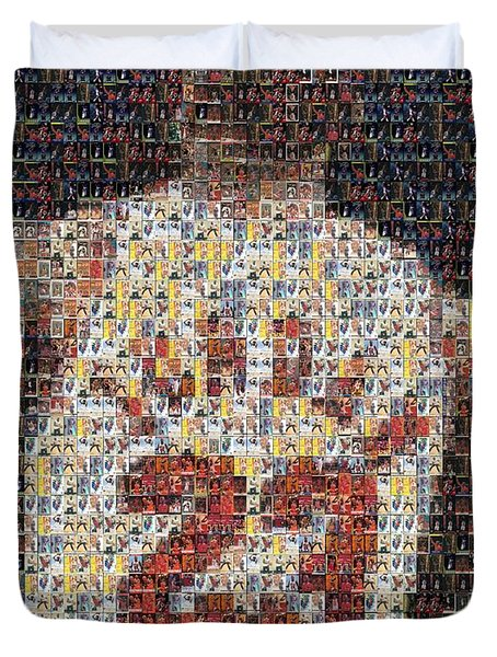 Michael Jordan Card Mosaic 2 Duvet Cover by Paul Van Scott