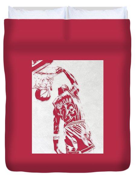 Michael Jordan Chicago Bulls Pixel Art 1 Duvet Cover by Joe Hamilton
