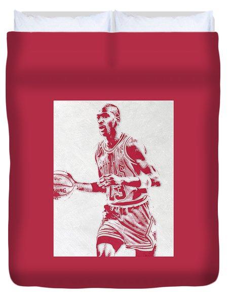 Michael Jordan Chicago Bulls Pixel Art 2 Duvet Cover by Joe Hamilton