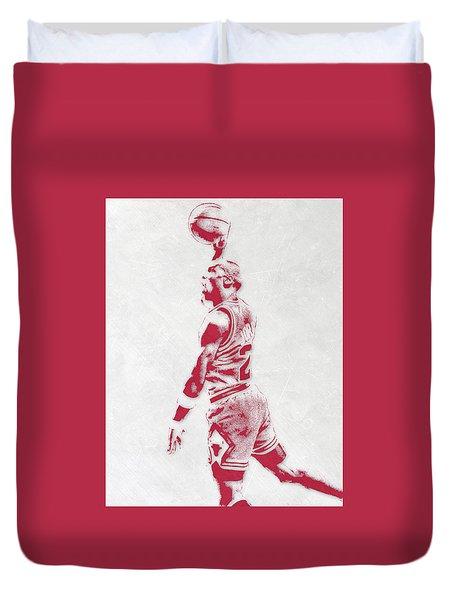Michael Jordan Chicago Bulls Pixel Art 3 Duvet Cover by Joe Hamilton