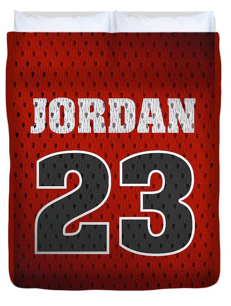 Michael Jordan Chicago Bulls Retro Vintage Jersey Closeup Graphic Design Duvet Cover by Design Turnpike