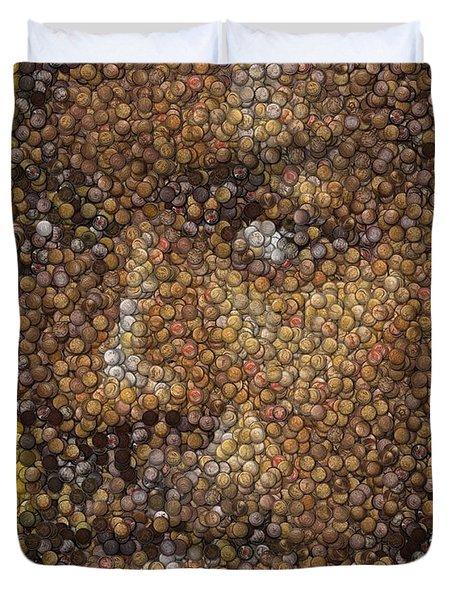 Duvet Cover featuring the digital art Michael Jordan Money Mosaic by Paul Van Scott