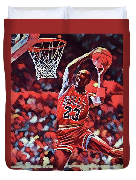 Duvet Cover featuring the painting Michael Jordan Slam Dunk by Dan Sproul