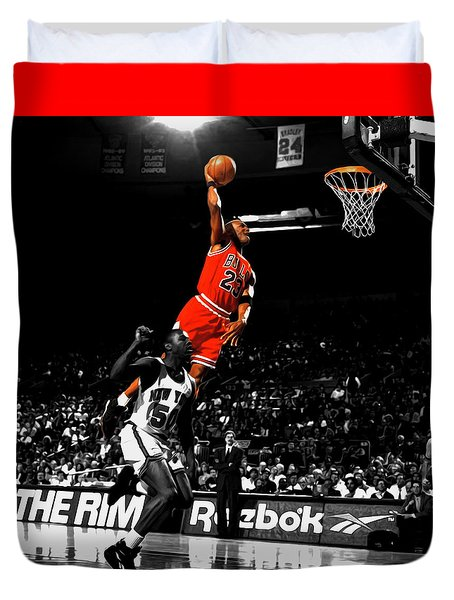 Michael Jordan Suspended In Air Duvet Cover