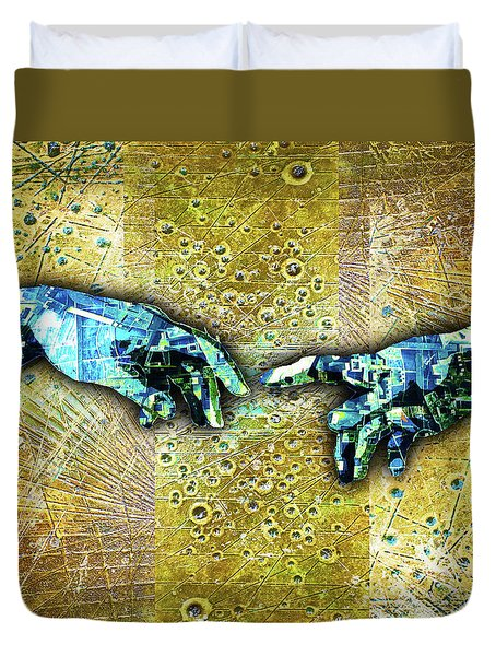 Duvet Cover featuring the mixed media Michelangelo's Creation Of Man by Tony Rubino