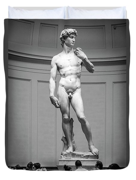 Duvet Cover featuring the photograph Michelangelo's David by Sonny Marcyan