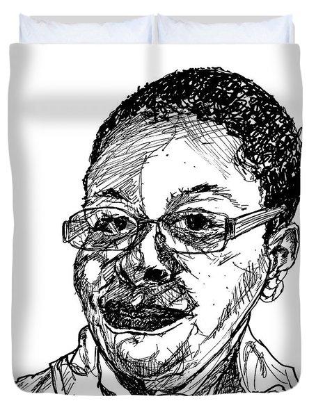 Michelle Caricature Duvet Cover