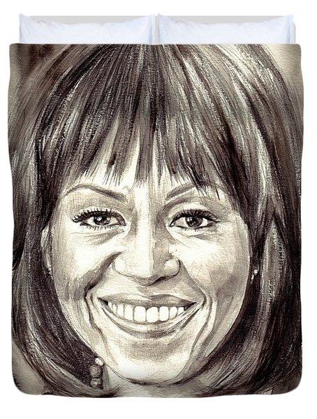 Michelle Obama Watercolor Portrait Duvet Cover