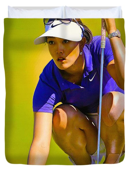 Michelle Wie Lines Up Her Putt  Duvet Cover