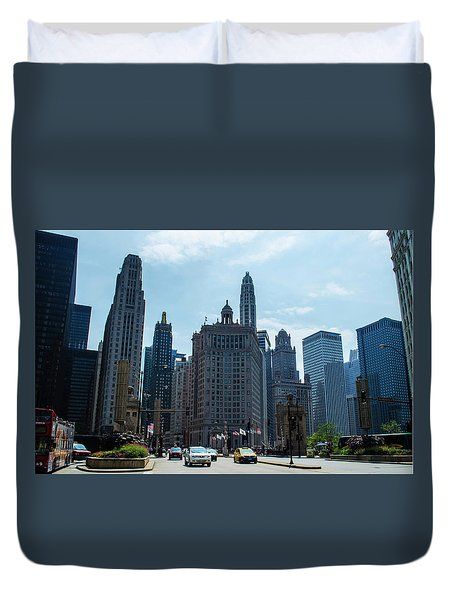 Duvet Cover featuring the photograph Michigan Avenue Bridge And Skyline Chicago by Deborah Smolinske