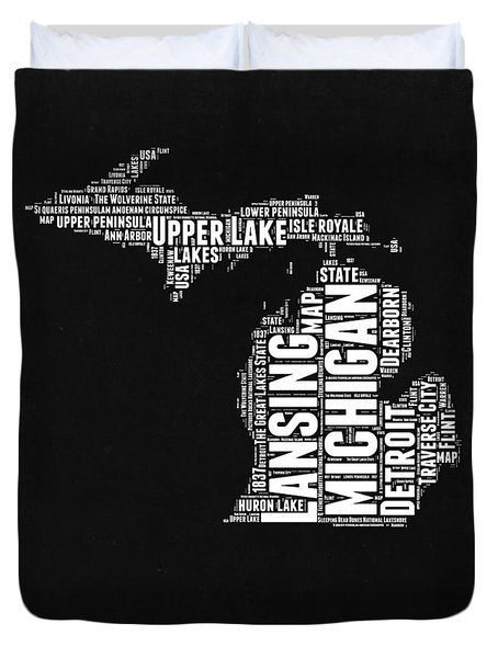 Michigan Black And White Word Cloud Map Duvet Cover