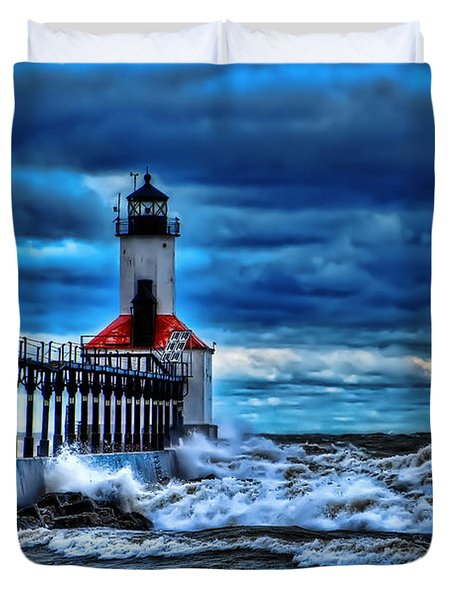 Michigan City Lighthouse Duvet Cover