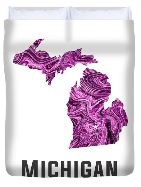 Michigan Map Art Abstract In Purple Duvet Cover