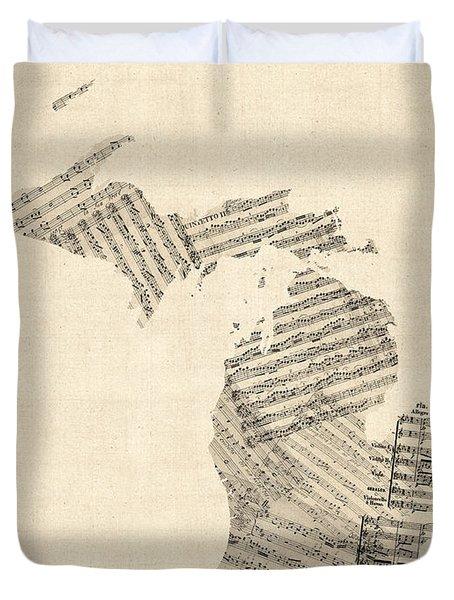 Michigan Map, Old Sheet Music Map Duvet Cover