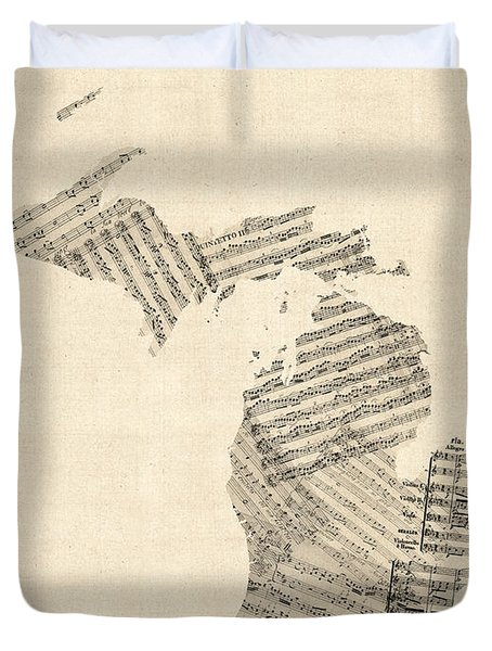Michigan Map, Old Sheet Music Map Duvet Cover