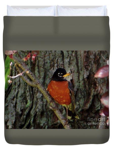 Michigan State Bird Robin Duvet Cover