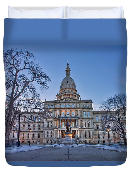 Duvet Cover featuring the photograph Michigan State Capitol by Nicholas Grunas
