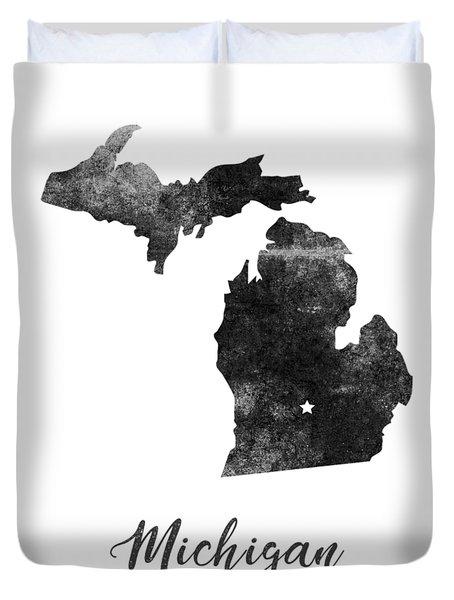 Michigan State Map Art - Grunge Silhouette Duvet Cover