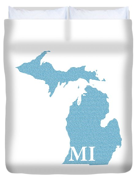 Michigan State Map With Text Of Constitution Duvet Cover