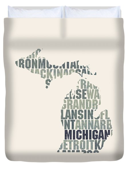 Michigan State Outline Word Map Duvet Cover