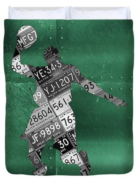 Michigan State Spartans Basketball Player Recycled Michigan License Plate Art Duvet Cover