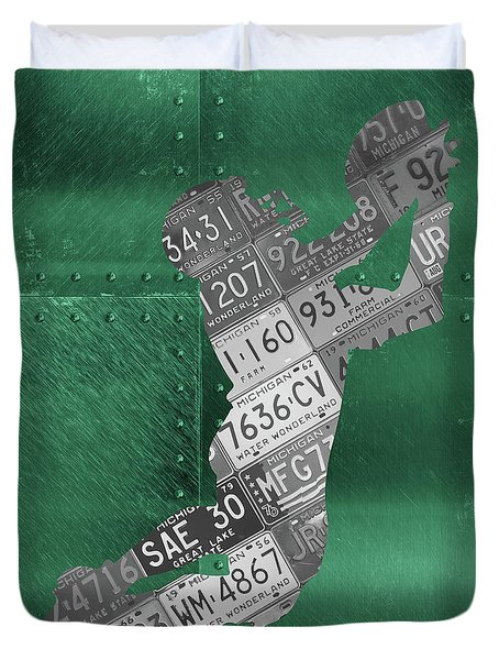 Michigan State Spartans Receiver Recycled Michigan License Plate Art Duvet Cover