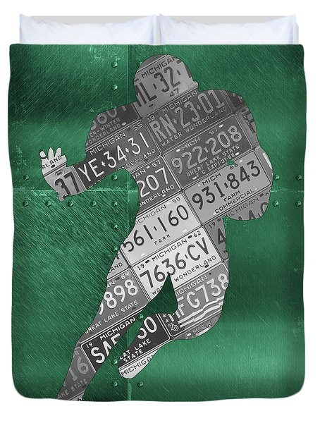 Michigan State Spartans Running Back Recycled Michigan License Plate Art Duvet Cover