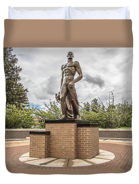 Michigan State - The Spartan Statue Duvet Cover by John McGraw