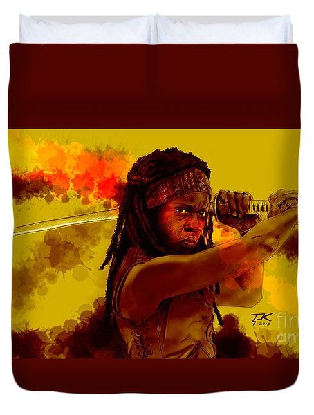 Michonne Duvet Cover by David Kraig