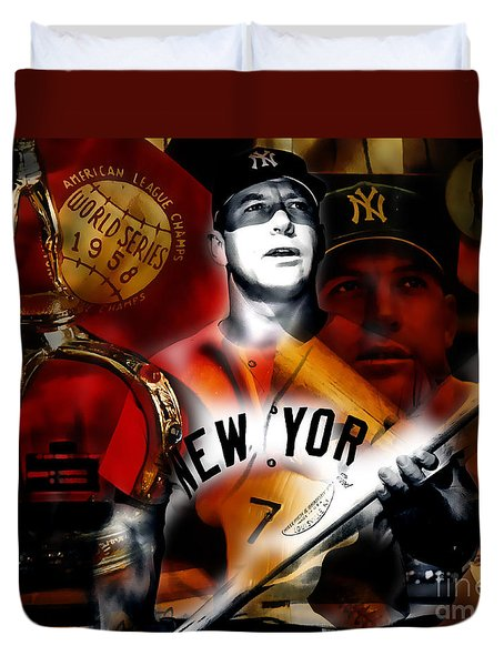 Mickey Mantle Collection Duvet Cover by Marvin Blaine