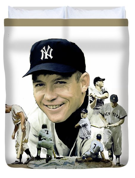 Mickey Mantle Legacy, II  Duvet Cover by Iconic Images Art Gallery David Pucciarelli